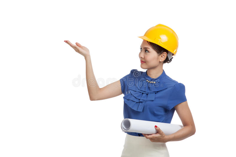Asian engineer woman with blueprints show her palm hand stock photo