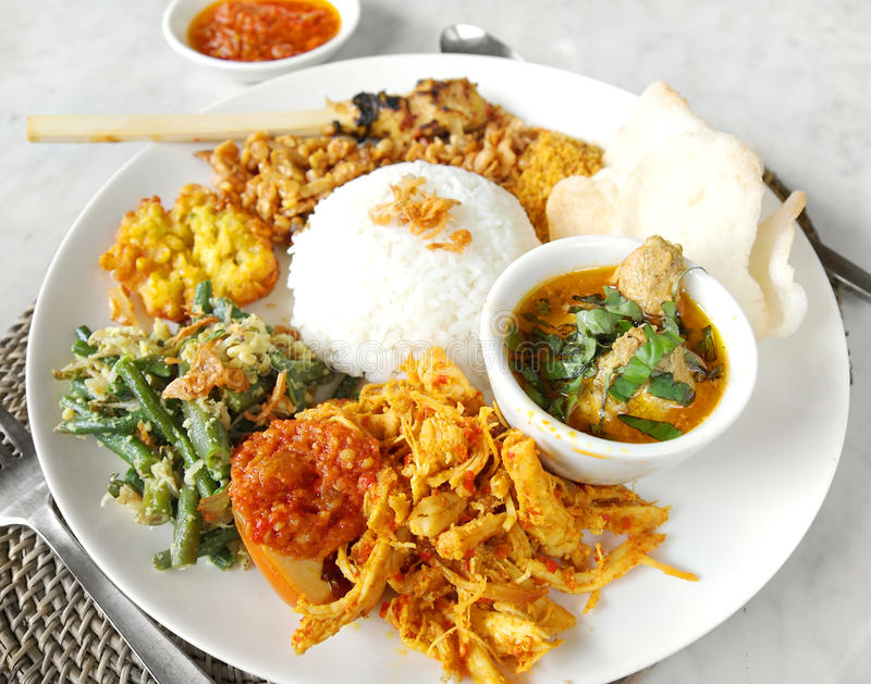 Asian ethnic food, nasi campur royalty free stock photography