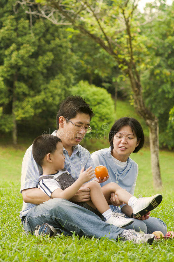 Asian family. Having fun at outdoor