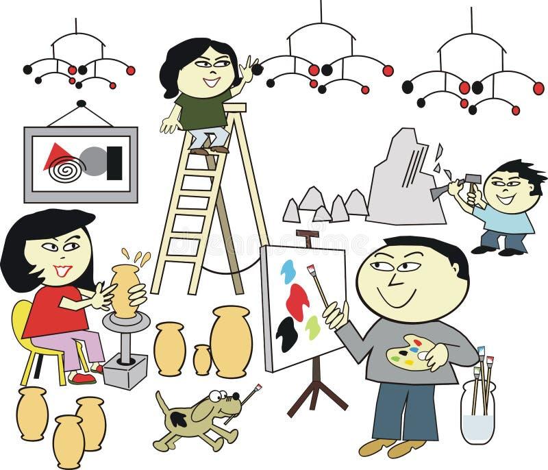 Asian family artwork cartoon. Cartoon of happy Asian family enjoying creating original artwork as a hobby stock illustration