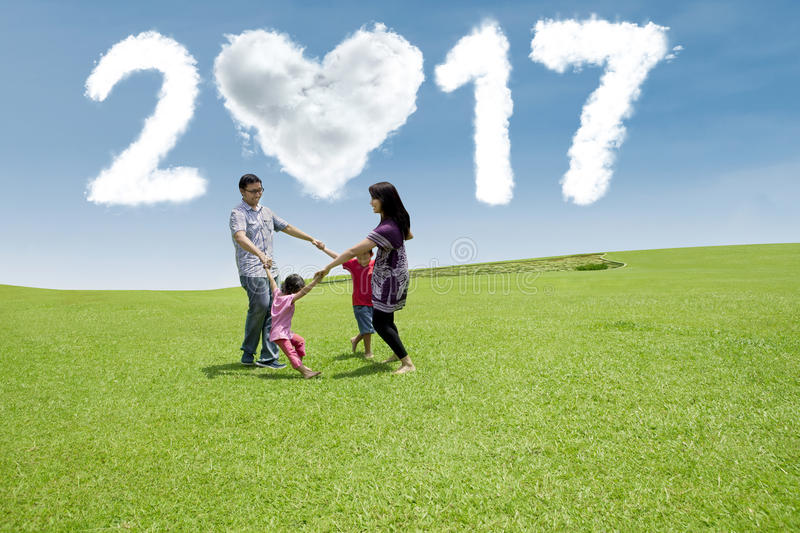 Asian family celebrate new year 2017 stock photography