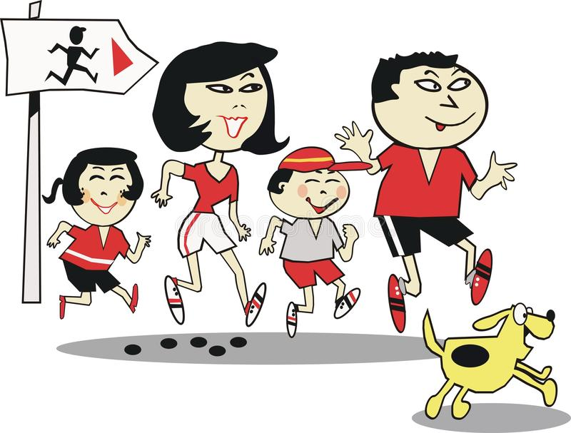 Asian family jogging cartoon stock illustration
