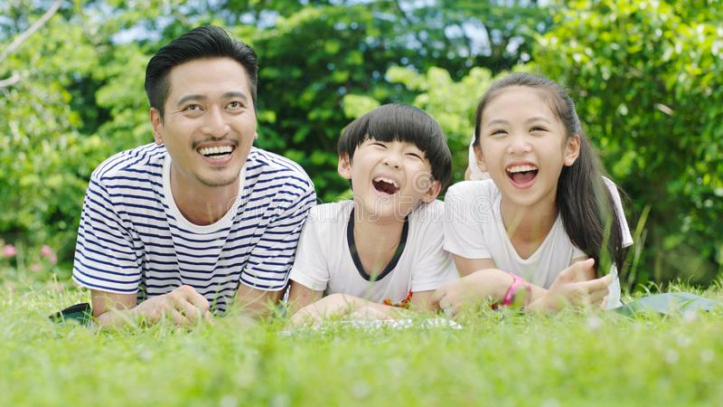 Asian family looking up royalty free stock image