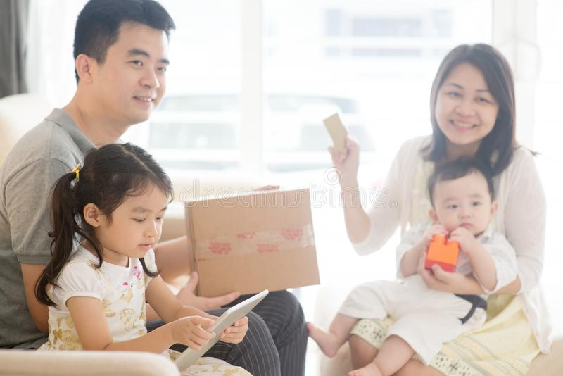 Asian family online purchase stock photo