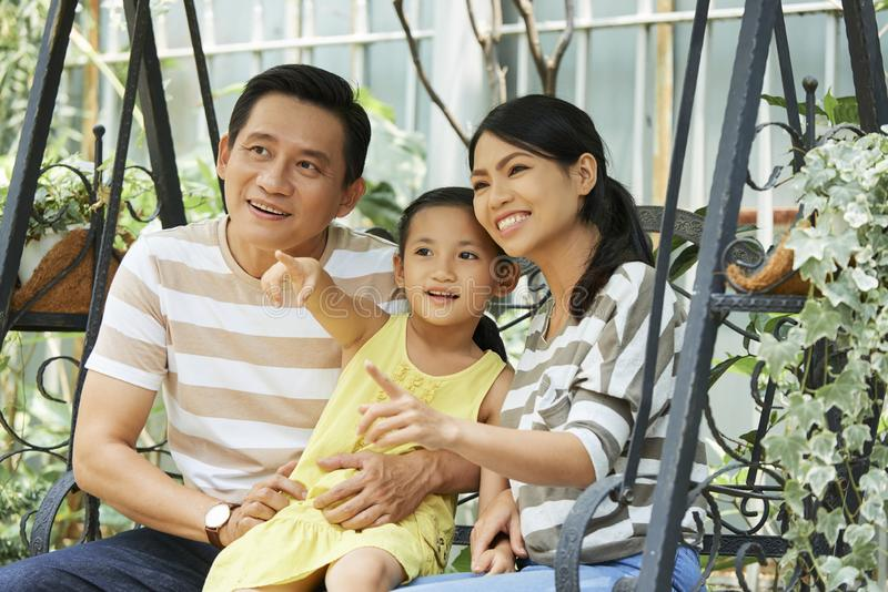 Asian family outdoors royalty free stock photos