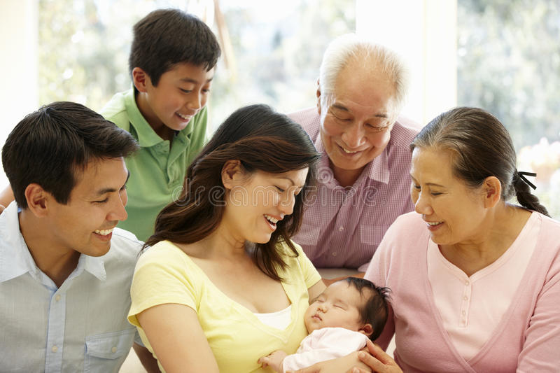 Asian family portrait royalty free stock photography
