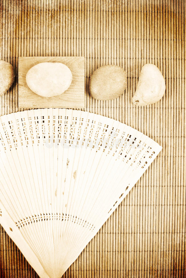 Asian Fan with Stones