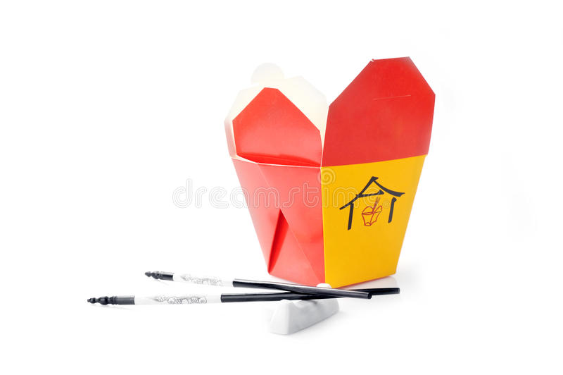 Asian fast food boxes on white stock photos