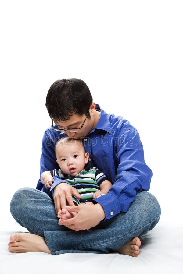 Asian father and son royalty free stock photos
