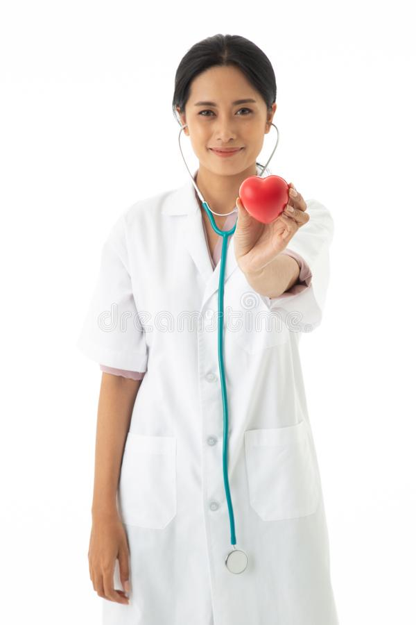 The Asian female doctor with uniform and stethoscope on neck stock photos