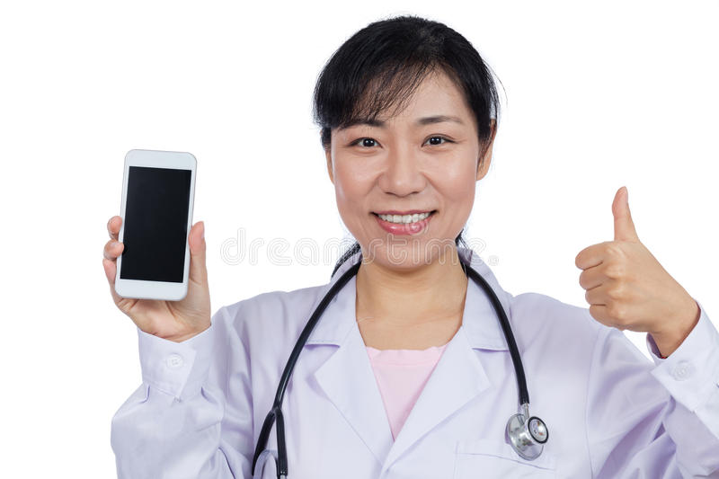Asian female doctor using mobile phone. In isolated White Background stock images