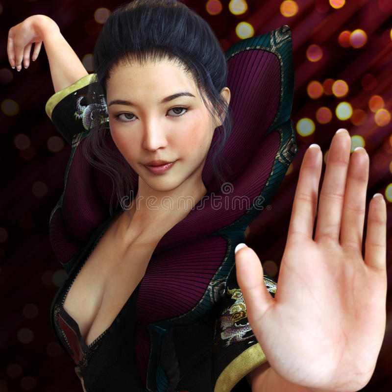 Asian female, fighter practicing martial arts in traditional costume with a bokeh background . Kung fu and karate pose. stock illustration