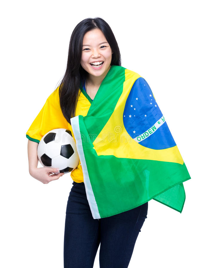 Asian female football supporter. Isolated on white stock photos
