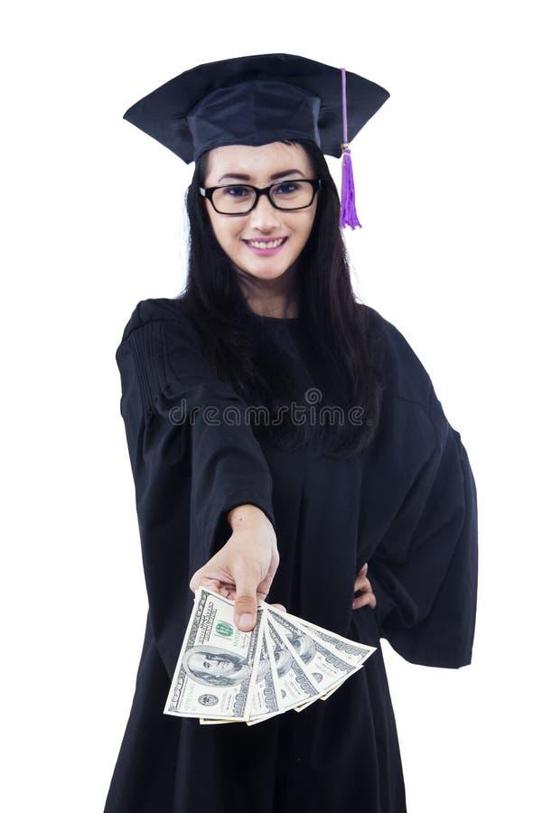 Asian Female Graduate Holding Money - Isolated Royalty Free Stock Image