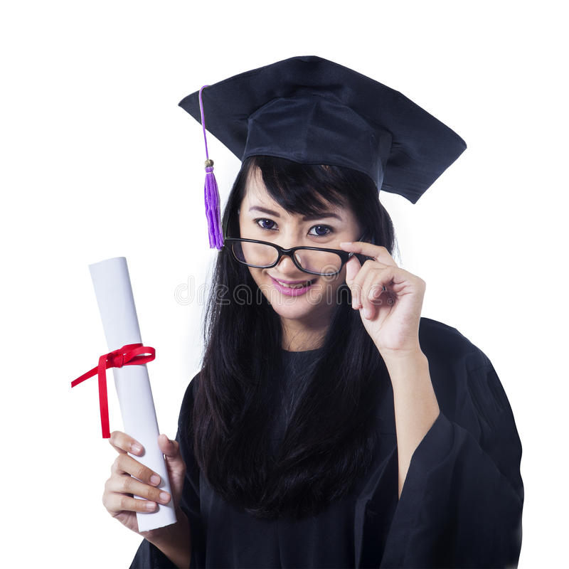 Download Asian Female Graduate Smiling On White Stock Photo - Image: 32157170