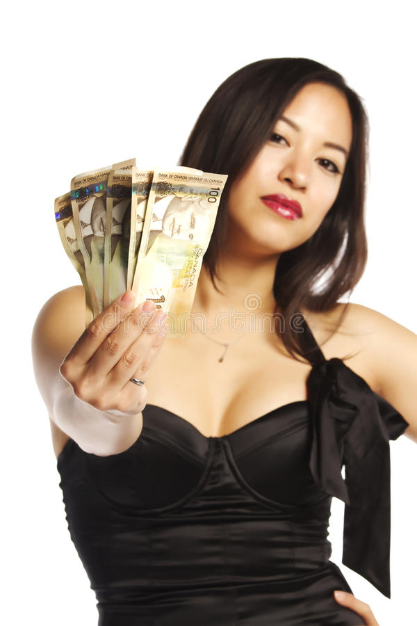 Free Asian Female In Black Dress Displaying Money Stock Images - 21906554