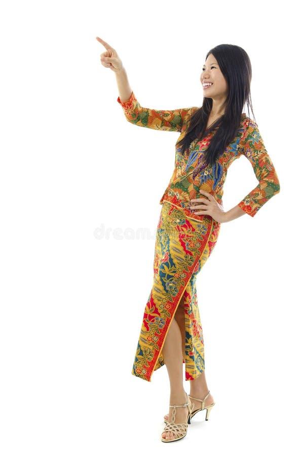 Asian female pointing stock photos