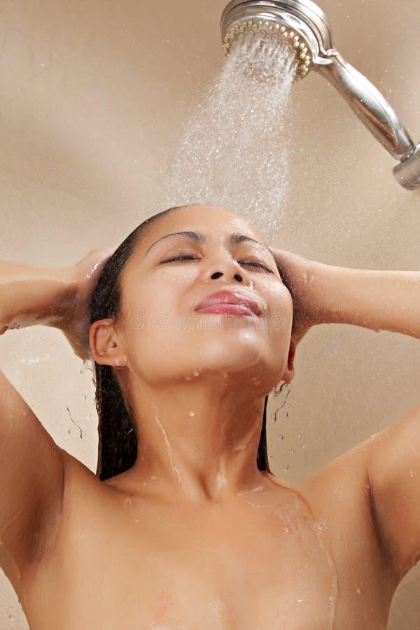 Asian Female Showering Stock Photos