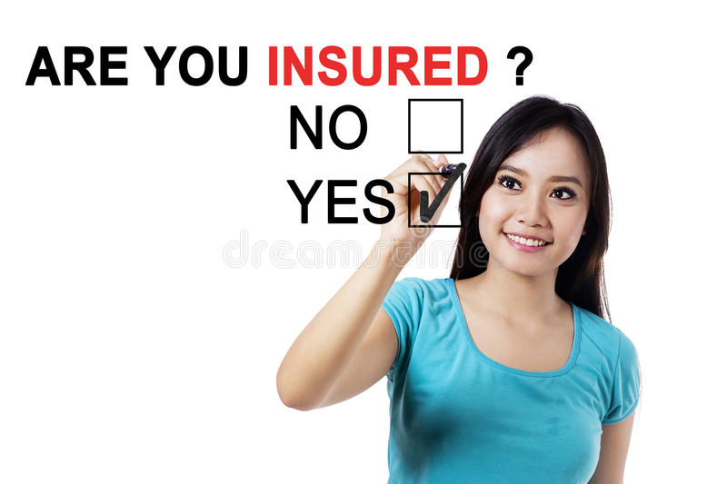 Asian female with text of are you insured stock image