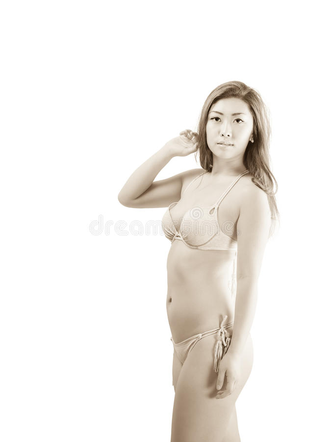 Asian Female Wearing Two Piece Swimsuit stock images