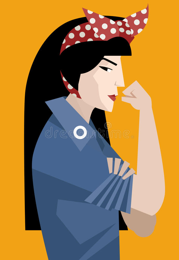 Asian feminist woman vector illustration