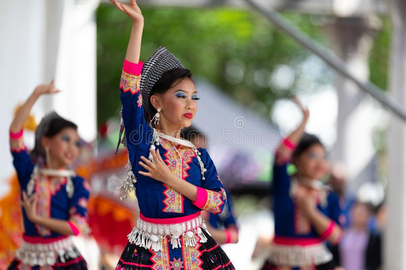 Asian Festival. Columbus, Ohio, USA - May 26, 2019: Columbus Asian Festival, Young girls performing Hmong traditional dances, in the amphitheater at Franklin royalty free stock photos