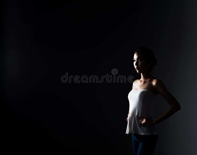 Asian Fitness woman warm up ballet dance stretch stock photo