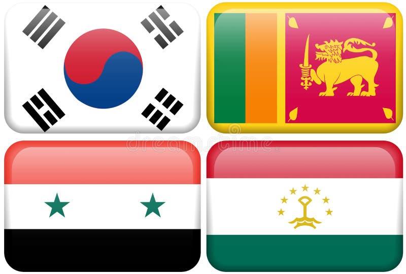 Asian Flag Buttons: South Korea, Sri Lanka, Syria