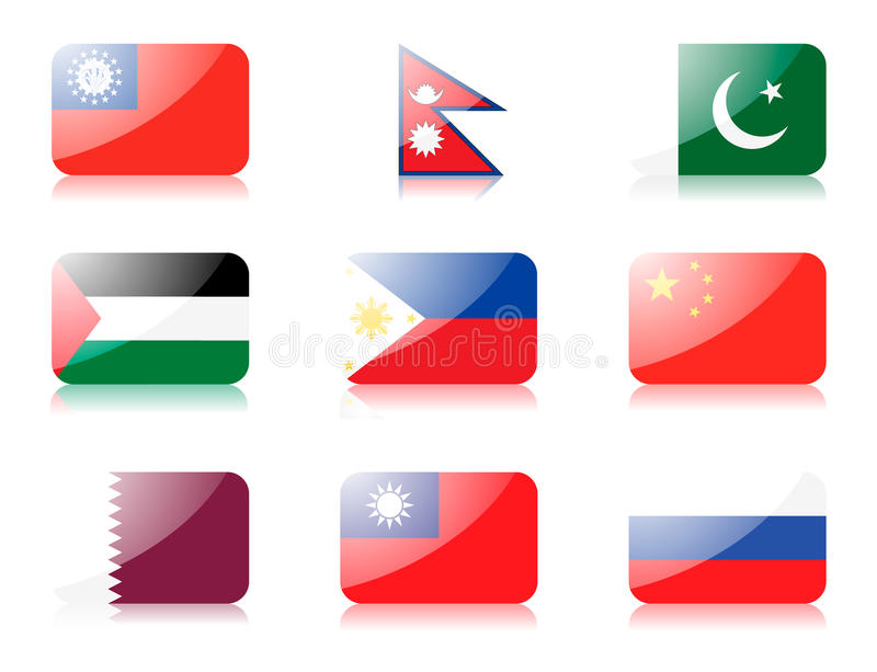 Asian flags set 4 royalty free illustration