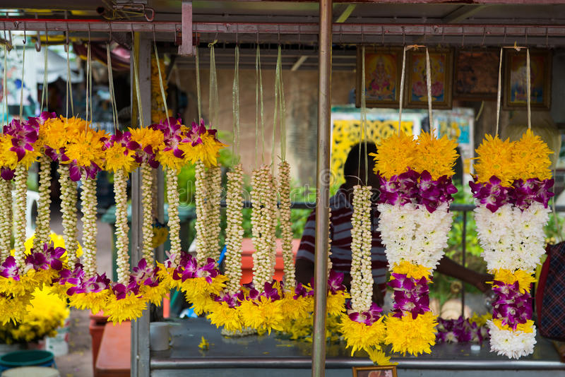 Asian Flower Arrangement Garlands Malaysia stock photo