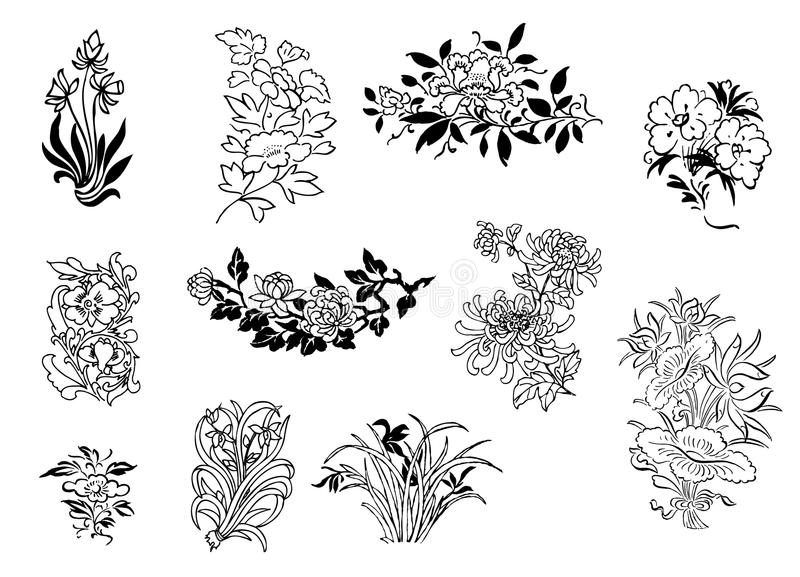 Asian flower drawings stock illustration
