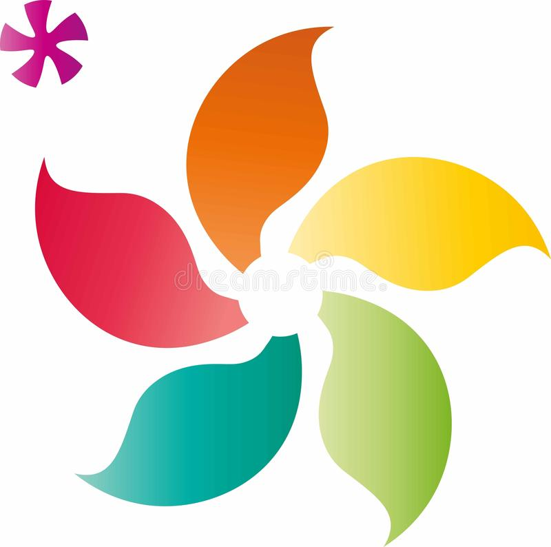 Asian Flower Figures with bright color schema stock illustration