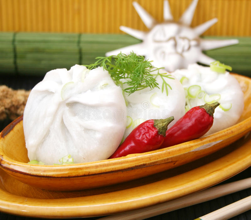 Asian food. Some asian food filled with leak and chili-sauce stock photo