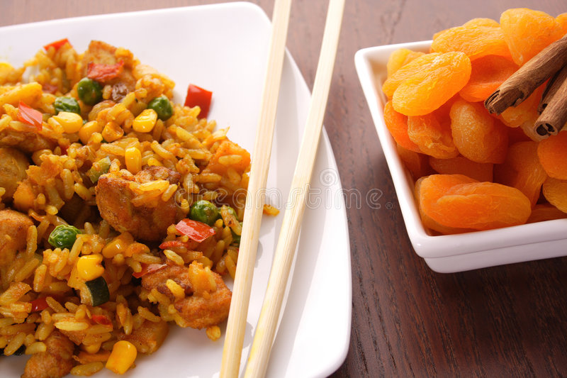 Asian food. Thai peanut chicken curry with rice. chinese food. Indian curries and rice dishes royalty free stock photography