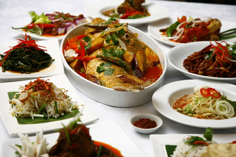 Asian food. Mix of Indonesian and Malaysian food stock photography