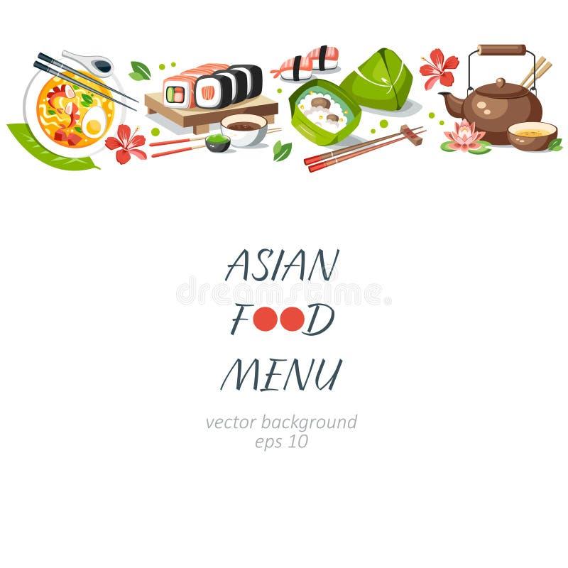 Asian food background horizontal menu dishes chinese traditional. Cuisine japanese thai frame background border royalty free illustration