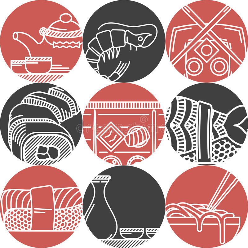 Asian food black and red icons royalty free illustration