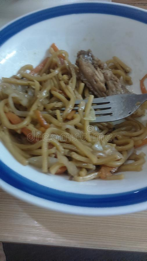 Chinese noodles with chicken royalty free stock image