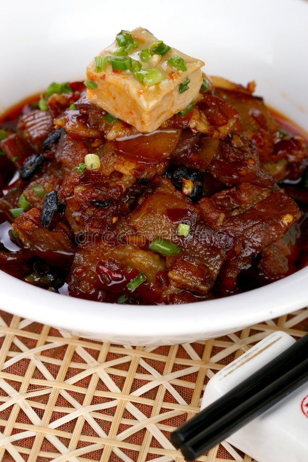 Asian food cold tofu. Asian food. Stir fry of pork and vegetables stock photography