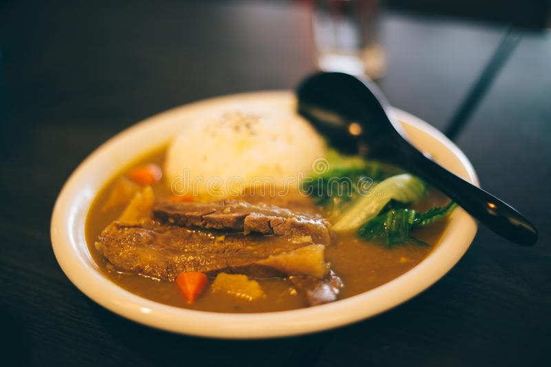 Asian food curry rice on table in Taiwan. Asian food curry rice on table royalty free stock images