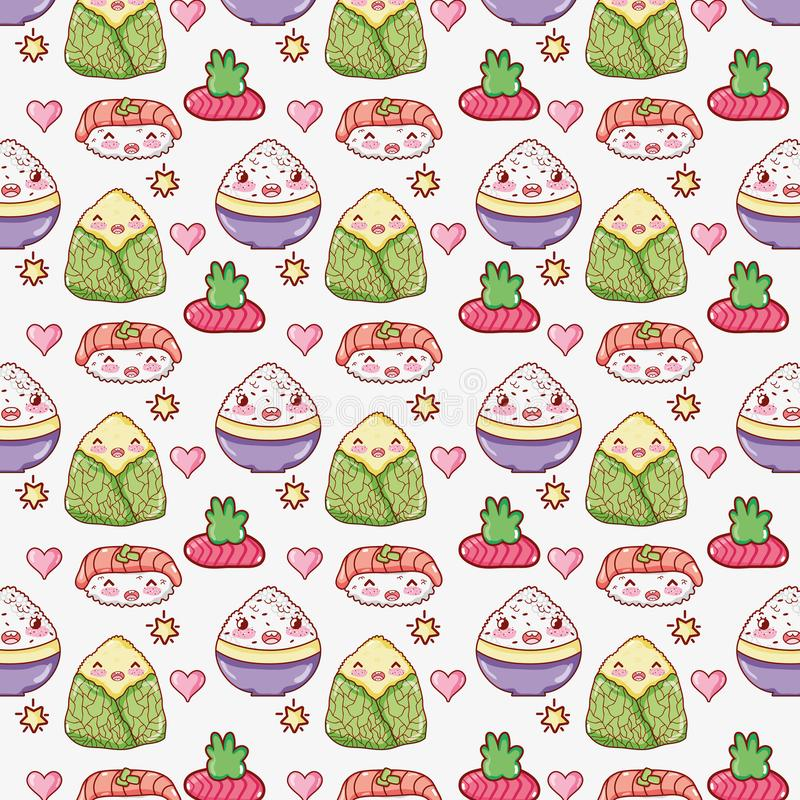 Asian food cute kawaii background. Vector illustration graphic design royalty free illustration