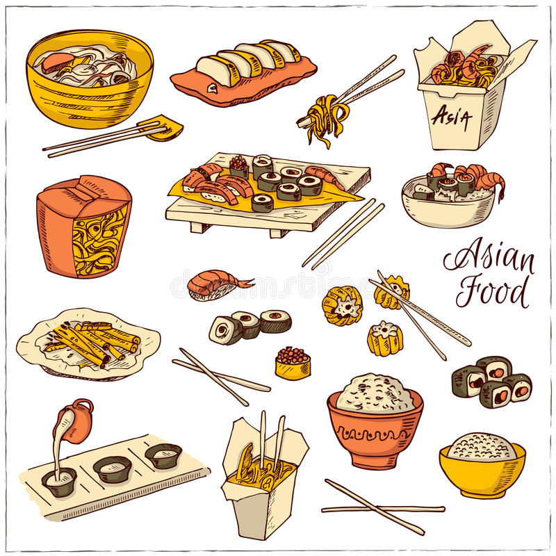Asian Food. Decorative chinese food icons set. Vector illustration for design menus, recipes and packages product stock illustration