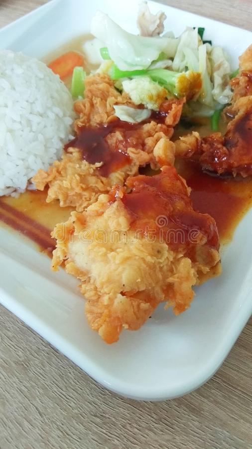 Asian Food Chicken with Vegetable stock images