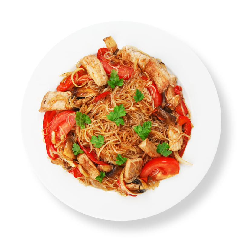 Asian food. Fried Thai Rice noodles stock images