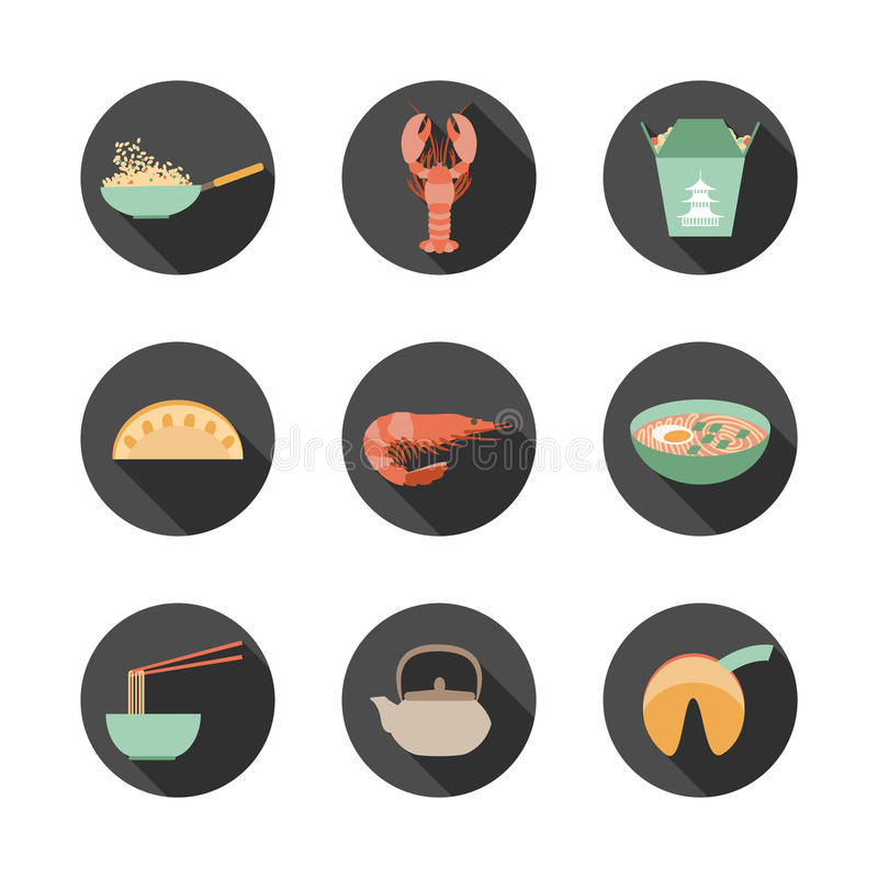 Asian food icons. Set of round flat icons with asian food vector illustration