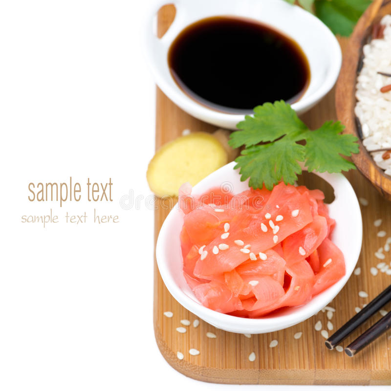 Asian food ingredients (ginger, soy sauce, rice), isolated royalty free stock images