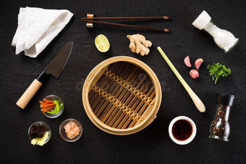 Asian food ingredients and steamer. Top view royalty free stock photos