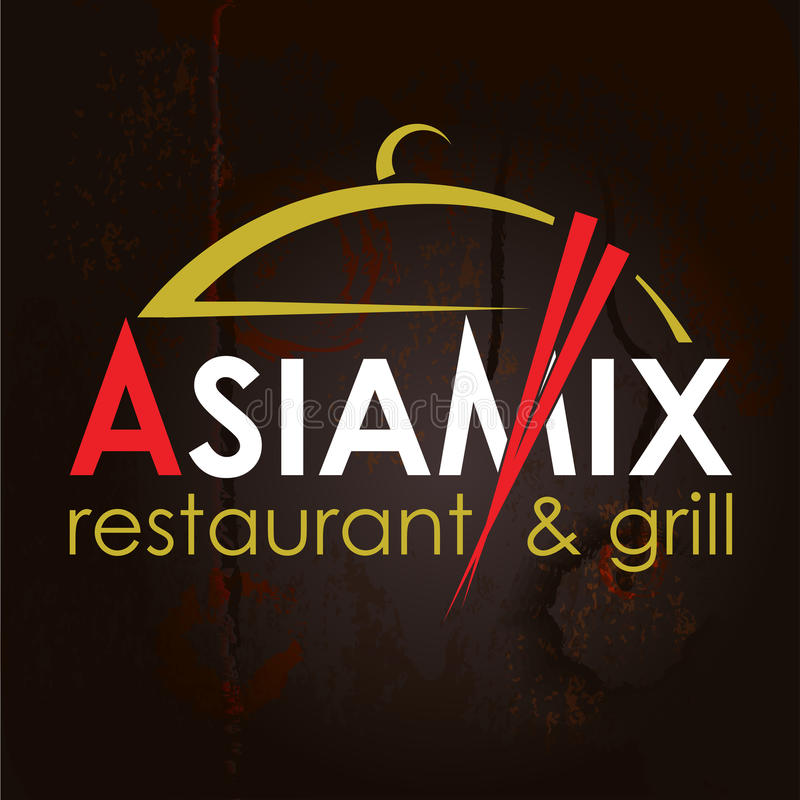 Asian food logo. Asia Mix Restaurant. Abstract Creative concept vector Logo for Asian restaurant. Design for restaurants and cafes. Business logo. Imitation of stock illustration