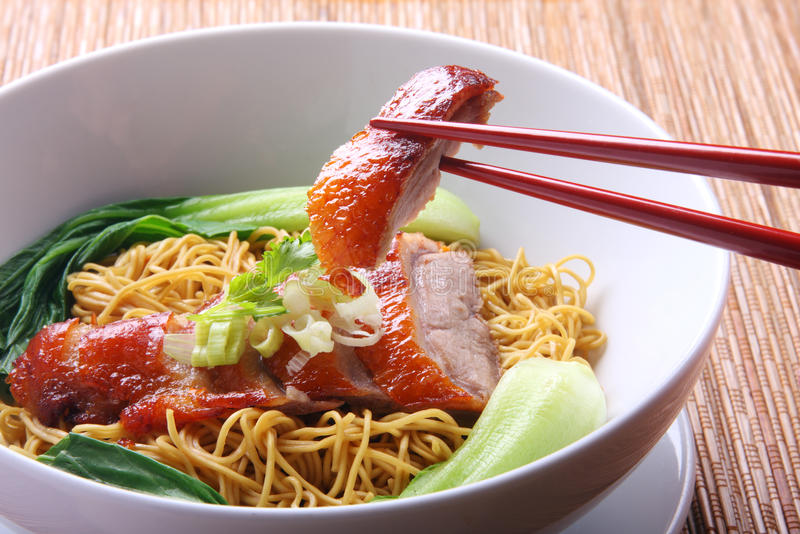 Asian Food Noodle Soup. Chinese Peking Duck noodle soup stock photography
