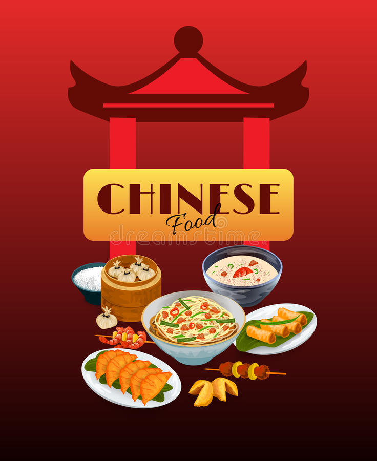 Asian Food Poster. With chinese gates and traditional dishes vector illustration vector illustration